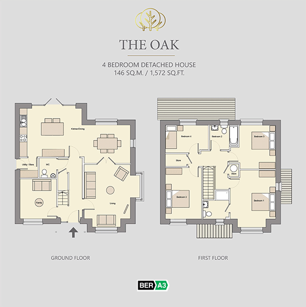 The Oak house type at Beechwood, ground and 1st floor plans
