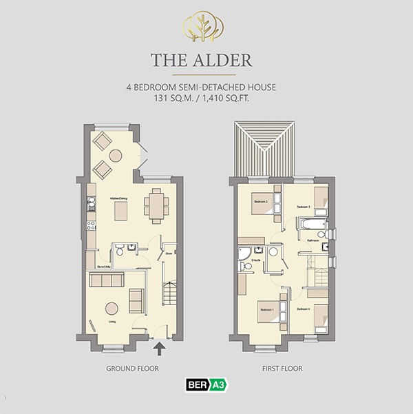 The Alder house type at Beechwood, ground and 1st floor plans