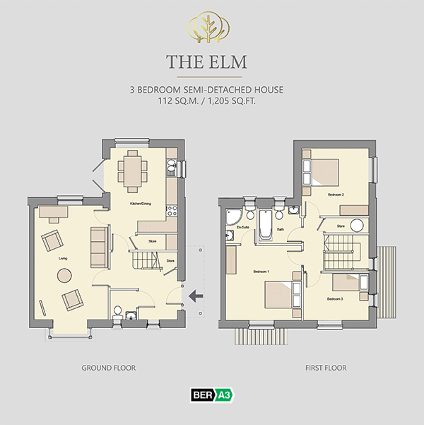 The Elm house type at Beechwood, ground and 1st floor plans