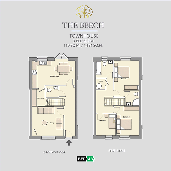 The Beech townhouse  at Beechwood, ground and 1st floor plans