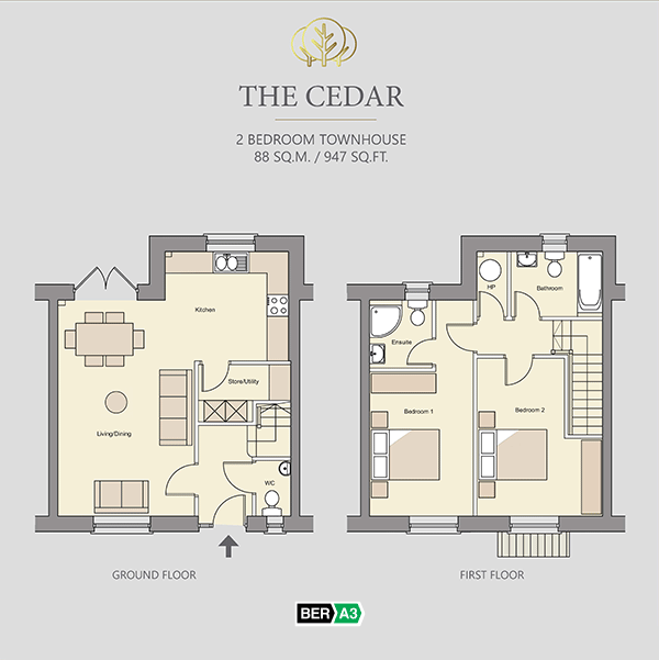 The Cedar townhouse  at Beechwood, ground and 1st floor plans